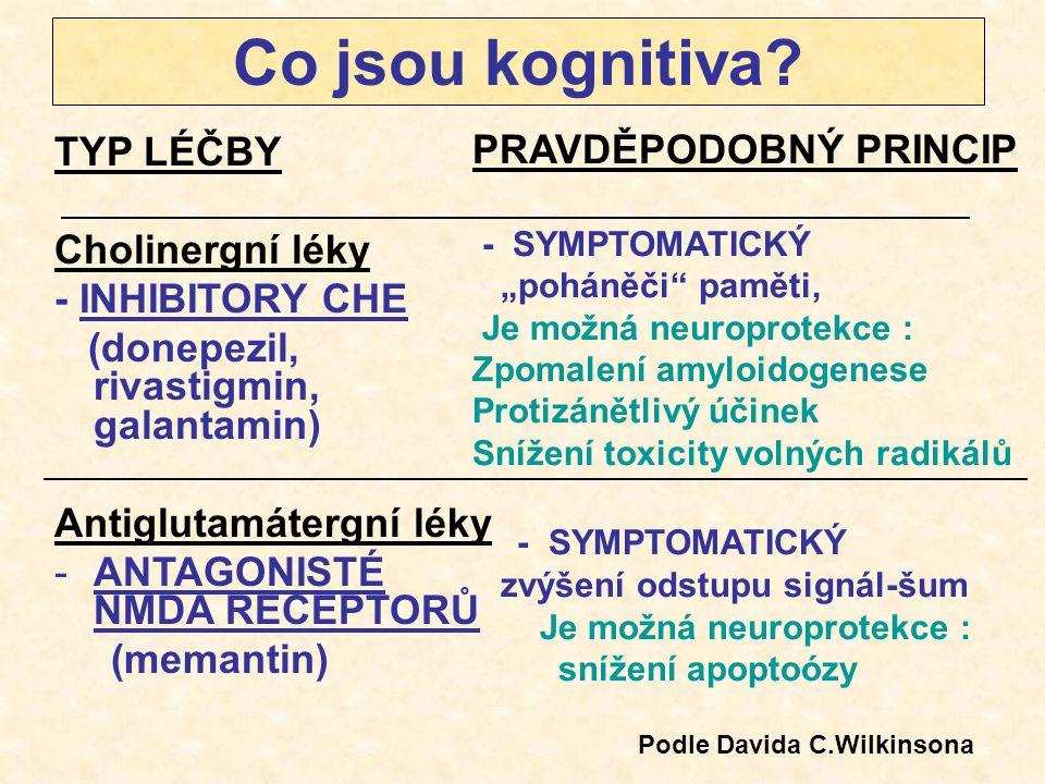 Co jsou kognitiva? TYP LÉČBY Cholinergní léky - INHIBITORY CHE (donepezil, rivastigmin, galantamin) Antiglutamátergní léky -ANTAGONISTÉ NMDA RECEPTORŮ