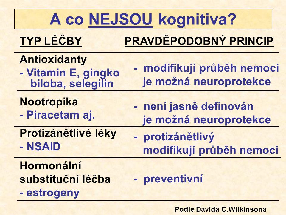 A co NEJSOU kognitiva? TYP LÉČBY Antioxidanty - Vitamin E, gingko biloba, selegilin Nootropika - Piracetam aj. Protizánětlivé léky - NSAID Hormonální