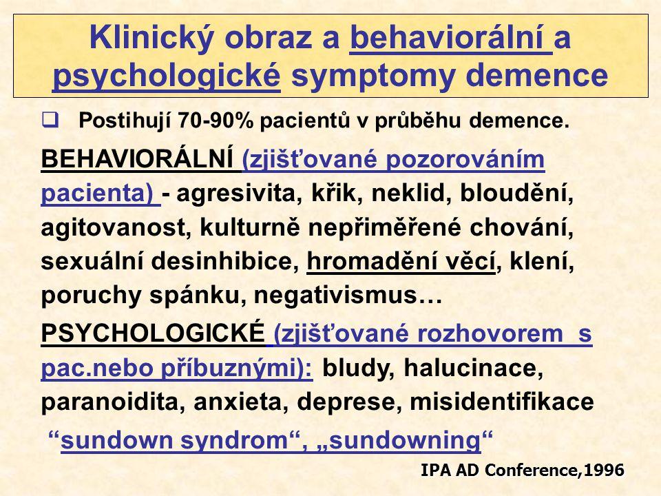 BEHAVIORÁLNÍ (zjišťované pozorováním pacienta) - agresivita, křik, neklid, bloudění, agitovanost, kulturně nepřiměřené chování, sexuální desinhibice,