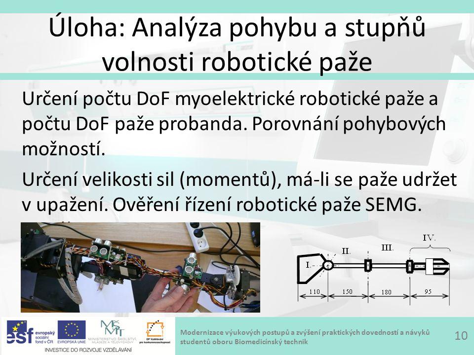 Modernizace výukových postupů a zvýšení praktických dovedností a návyků studentů oboru Biomedicínský technik Úloha: Analýza pohybu a stupňů volnosti robotické paže 10 Určení počtu DoF myoelektrické robotické paže a počtu DoF paže probanda.