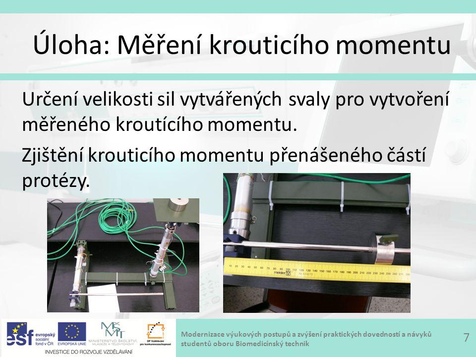 Modernizace výukových postupů a zvýšení praktických dovedností a návyků studentů oboru Biomedicínský technik Úloha: Měření krouticího momentu 7 Určení velikosti sil vytvářených svaly pro vytvoření měřeného kroutícího momentu.