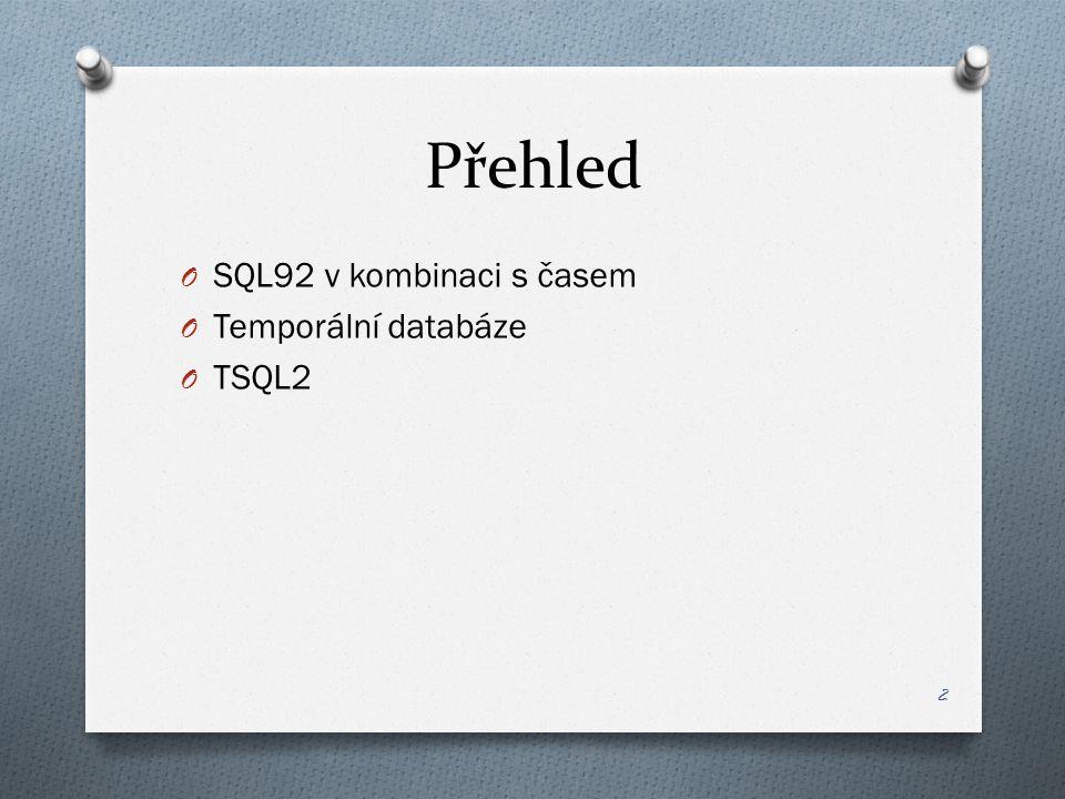 Přehled O SQL92 v kombinaci s časem O Temporální databáze O TSQL2 2