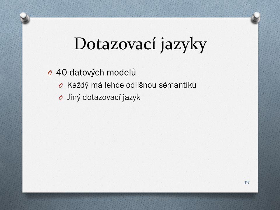 Dotazovací jazyky O 40 datových modelů O Každý má lehce odlišnou sémantiku O Jiný dotazovací jazyk 32