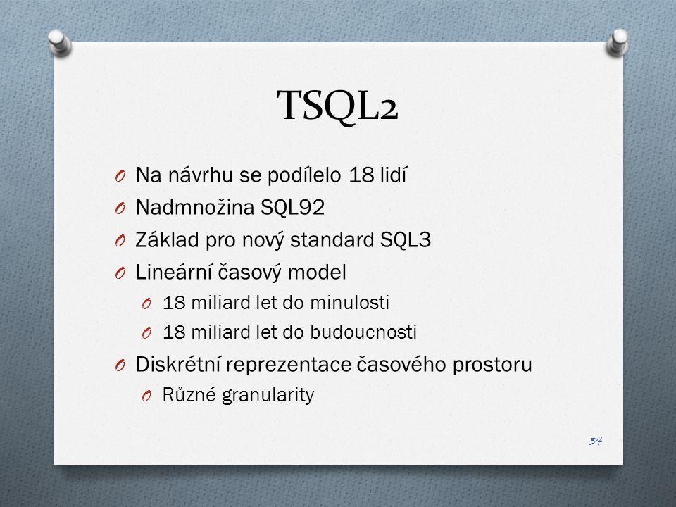 TSQL2 O Na návrhu se podílelo 18 lidí O Nadmnožina SQL92 O Základ pro nový standard SQL3 O Lineární časový model O 18 miliard let do minulosti O 18 miliard let do budoucnosti O Diskrétní reprezentace časového prostoru O Různé granularity 34