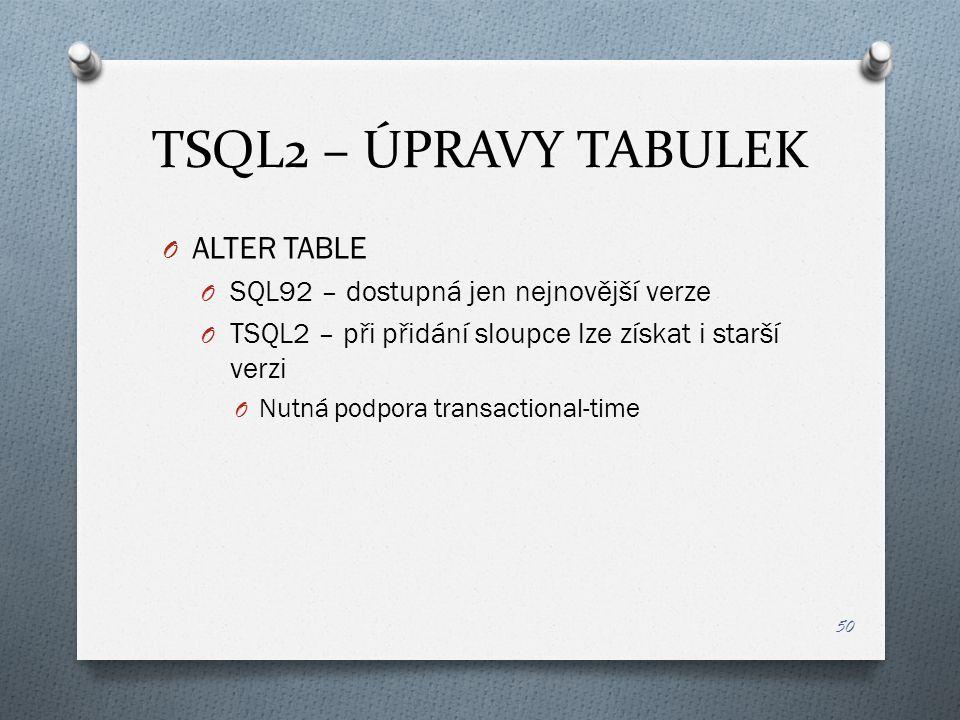 TSQL2 – ÚPRAVY TABULEK O ALTER TABLE O SQL92 – dostupná jen nejnovější verze O TSQL2 – při přidání sloupce lze získat i starší verzi O Nutná podpora transactional-time 50