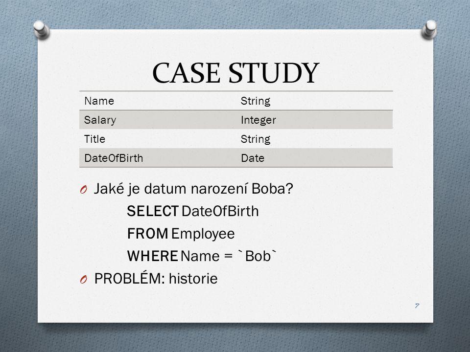 CASE STUDY O Jaké je datum narození Boba.
