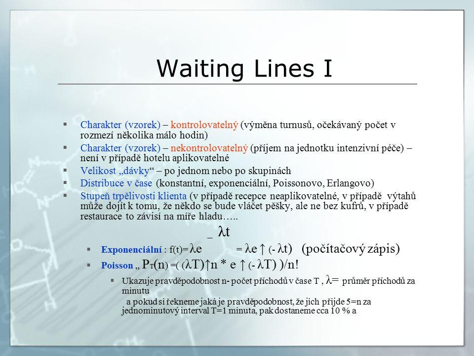 """Waiting Lines I  Charakter (vzorek) – kontrolovatelný (výměna turnusů, očekávaný počet v rozmezí několika málo hodin)  Charakter (vzorek) – nekontrolovatelný (příjem na jednotku intenzivní péče) – není v případě hotelu aplikovatelné  Velikost """"dávky – po jednom nebo po skupinách  Distribuce v čase (konstantní, exponenciální, Poissonovo, Erlangovo)  Stupeň trpělivosti klienta (v případě recepce neaplikovatelné, v případě výtahů může dojít k tomu, že někdo se bude vláčet pěšky, ale ne bez kufrů, v případě restaurace to závisí na míře hladu….."""
