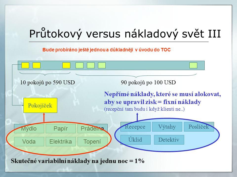 Průtokový versus nákladový svět III Bude probíráno ještě jednou a důkladněji v úvodu do TOC 10 pokojů po 590 USD90 pokojů po 100 USD Pokojíček Skutečné variabilní náklady na jednu noc = 1% MýdloPapírPrádelna ElektrikaVodaTopení RecepceVýtahyPoslíček ÚklidDetektiv Nepřímé náklady, které se musí alokovat, aby se upravil zisk = fixní náklady (recepční tam budu i když klienti ne..)