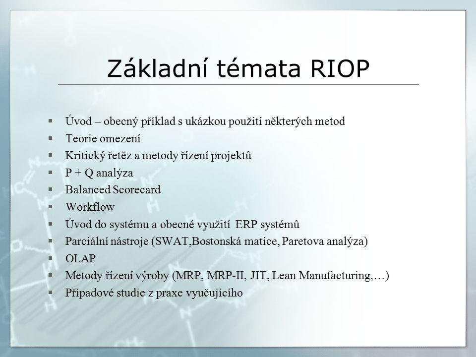 Základní témata RIOP  Úvod – obecný příklad s ukázkou použití některých metod  Teorie omezení  Kritický řetěz a metody řízení projektů  P + Q analýza  Balanced Scorecard  Workflow  Úvod do systému a obecné využití ERP systémů  Parciální nástroje (SWAT,Bostonská matice, Paretova analýza)  OLAP  Metody řízení výroby (MRP, MRP-II, JIT, Lean Manufacturing,…)  Případové studie z praxe vyučujícího