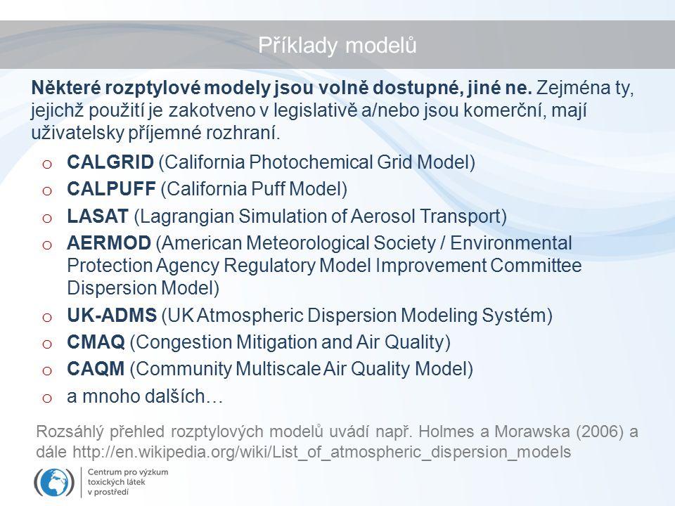 Příklady modelů o CALGRID (California Photochemical Grid Model) o CALPUFF (California Puff Model) o LASAT (Lagrangian Simulation of Aerosol Transport) o AERMOD (American Meteorological Society / Environmental Protection Agency Regulatory Model Improvement Committee Dispersion Model) o UK-ADMS (UK Atmospheric Dispersion Modeling Systém) o CMAQ (Congestion Mitigation and Air Quality) o CAQM (Community Multiscale Air Quality Model) o a mnoho dalších… Některé rozptylové modely jsou volně dostupné, jiné ne.