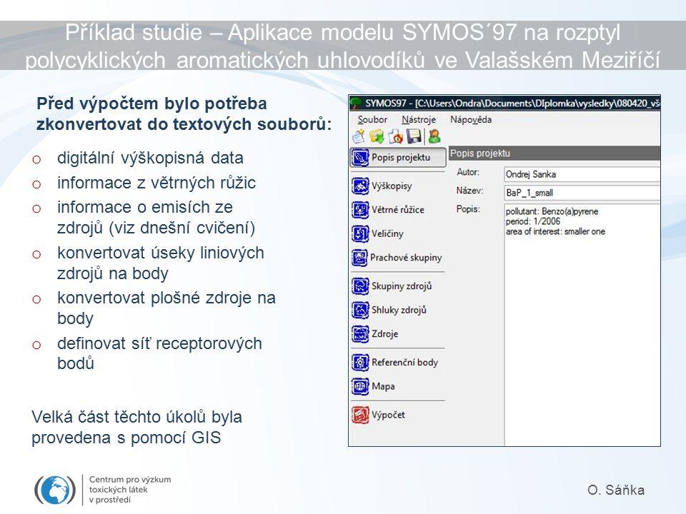 Příklad studie – Aplikace modelu SYMOS´97 na rozptyl polycyklických aromatických uhlovodíků ve Valašském Meziříčí O.