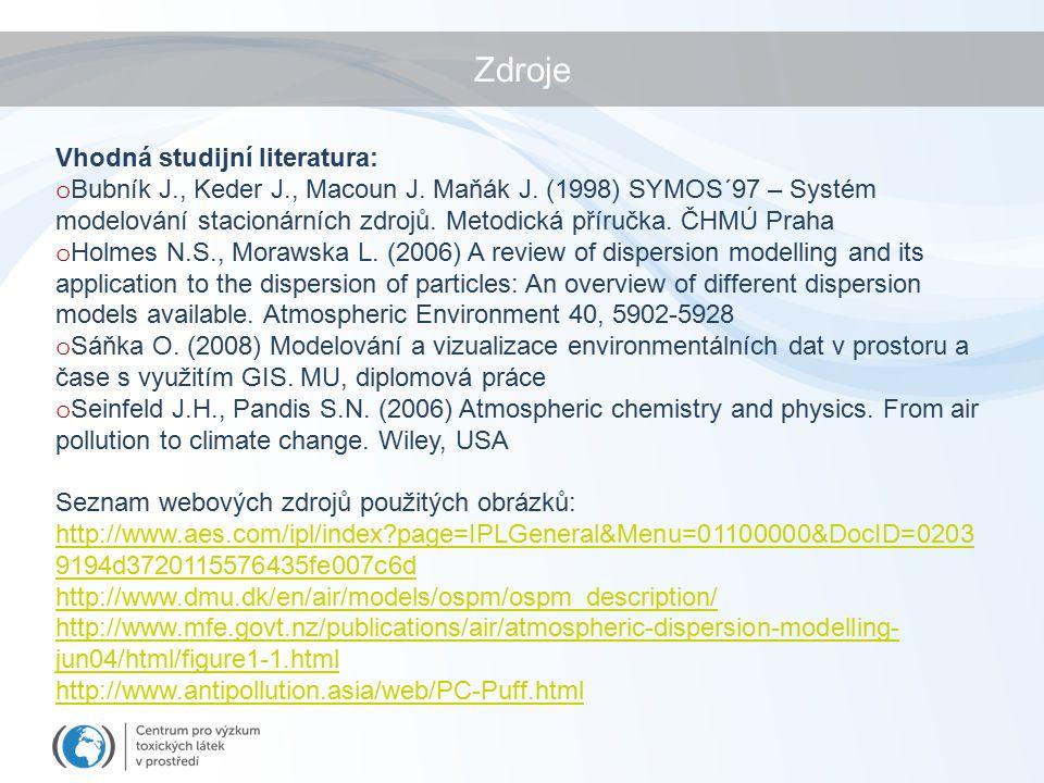 Zdroje Vhodná studijní literatura: o Bubník J., Keder J., Macoun J.