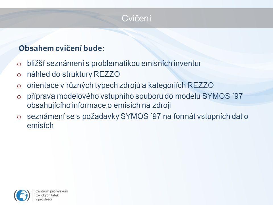 o bližší seznámení s problematikou emisních inventur o náhled do struktury REZZO o orientace v různých typech zdrojů a kategoriích REZZO o příprava modelového vstupního souboru do modelu SYMOS ´97 obsahujícího informace o emisích na zdroji o seznámení se s požadavky SYMOS ´97 na formát vstupních dat o emisích Obsahem cvičení bude: