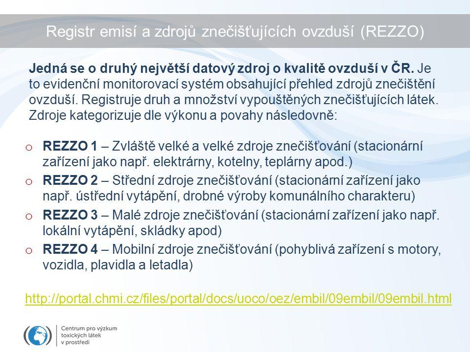 Registr emisí a zdrojů znečišťujících ovzduší (REZZO) o REZZO 1 – Zvláště velké a velké zdroje znečišťování (stacionární zařízení jako např.