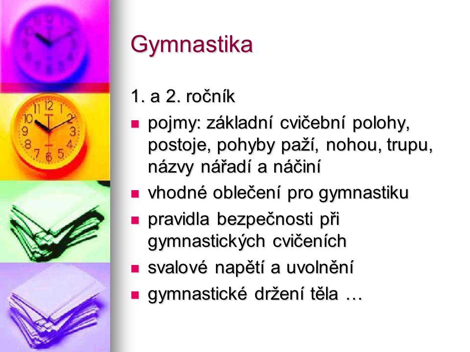 Gymnastika 1. a 2. ročník pojmy: základní cvičební polohy, postoje, pohyby paží, nohou, trupu, názvy nářadí a náčiní pojmy: základní cvičební polohy,