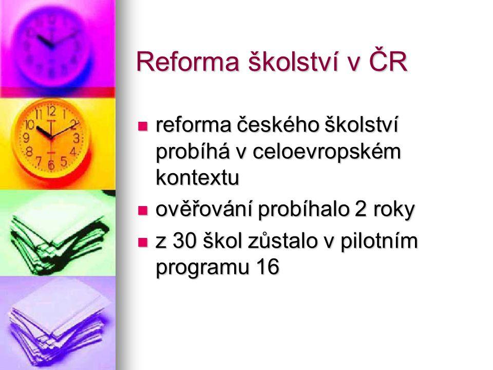 reforma českého školství probíhá v celoevropském kontextu reforma českého školství probíhá v celoevropském kontextu ověřování probíhalo 2 roky ověřová