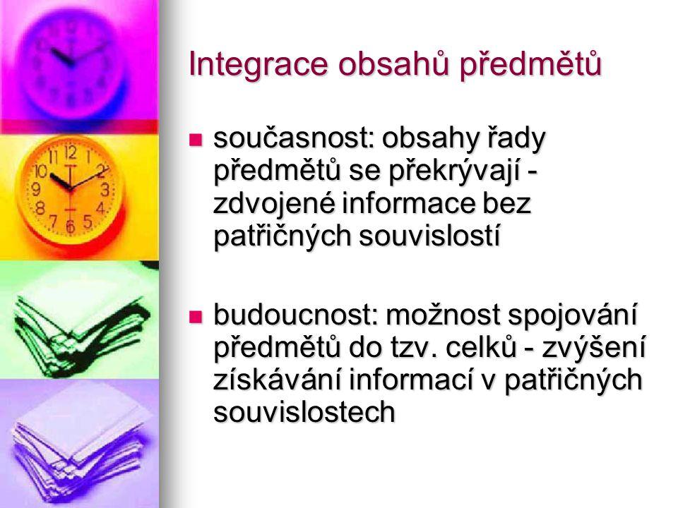 Integrace obsahů předmětů současnost: obsahy řady předmětů se překrývají - zdvojené informace bez patřičných souvislostí současnost: obsahy řady předm