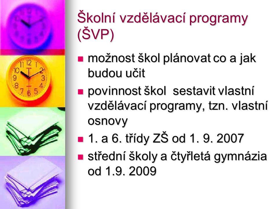 """Rozdíly mezi současnými osnovami a ŠVP školy si sestavují své programy samy dle jednotného dokumentu - """"RÁMCOVÝ VZDĚLÁVACÍ PROGRAM školy si sestavují své programy samy dle jednotného dokumentu - """"RÁMCOVÝ VZDĚLÁVACÍ PROGRAM (základního vzdělávání - RVP ZV, gymnaziálního vzdělávání - RVP GV, středního odborného vzdělávání - RVP SOV) RVP vymezuje závazné rámce vzdělávání pro etapy - předškolního, základního a středního vzdělávání RVP vymezuje závazné rámce vzdělávání pro etapy - předškolního, základního a středního vzdělávání"""