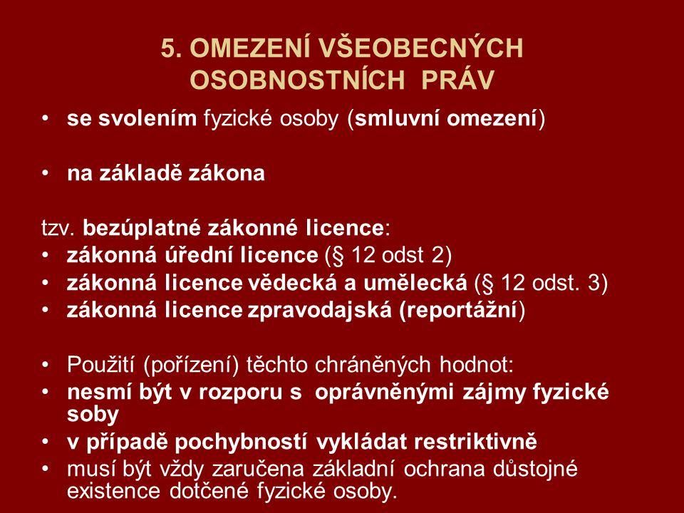 5. OMEZENÍ VŠEOBECNÝCH OSOBNOSTNÍCH PRÁV se svolením fyzické osoby (smluvní omezení) na základě zákona tzv. bezúplatné zákonné licence: zákonná úřední