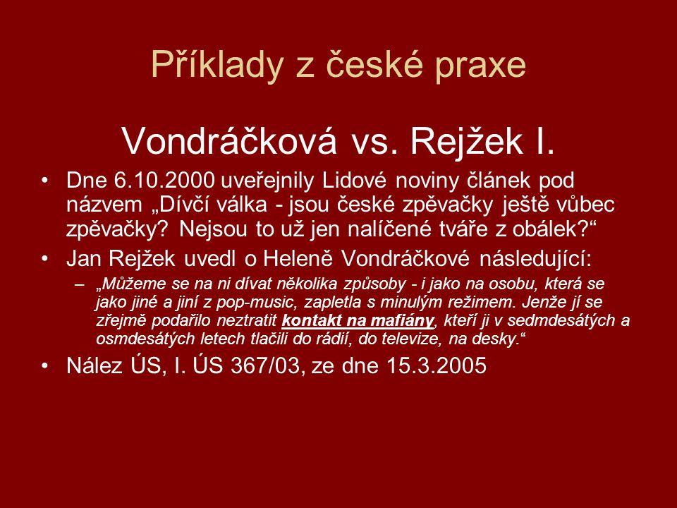 Vondráčková vs.Rejžek II.