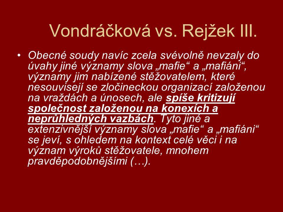 Vondráčková vs.Rejžek IV.