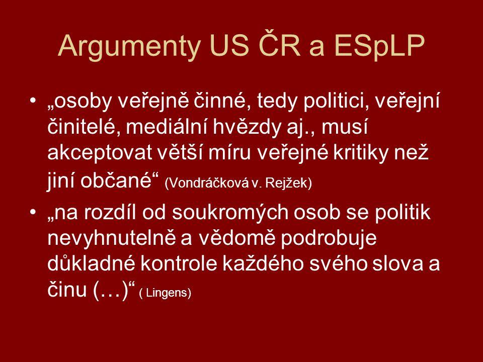 Kritéria pro vymezení hranice akceptovatelné kritiky 2 klíčová kritéria (M.