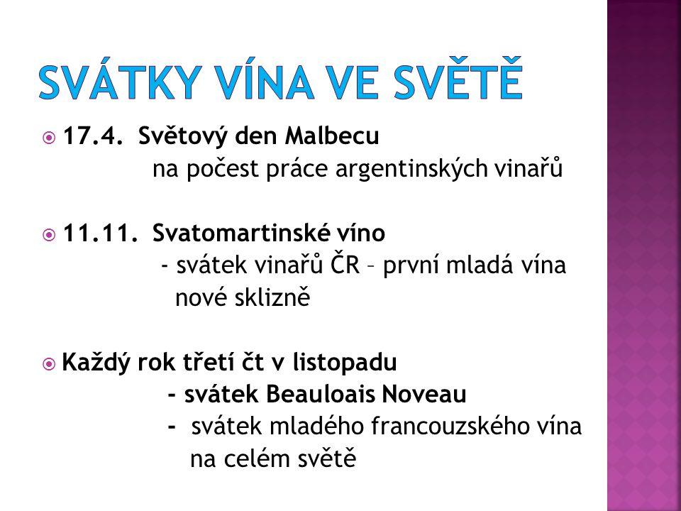  17.4.Světový den Malbecu na počest práce argentinských vinařů  11.11.