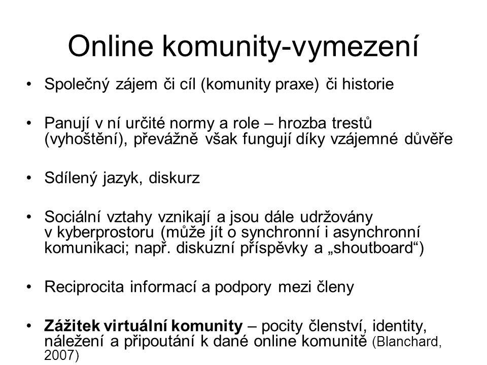 Online komunity-vymezení Společný zájem či cíl (komunity praxe) či historie Panují v ní určité normy a role – hrozba trestů (vyhoštění), převážně však fungují díky vzájemné důvěře Sdílený jazyk, diskurz Sociální vztahy vznikají a jsou dále udržovány v kyberprostoru (může jít o synchronní i asynchronní komunikaci; např.
