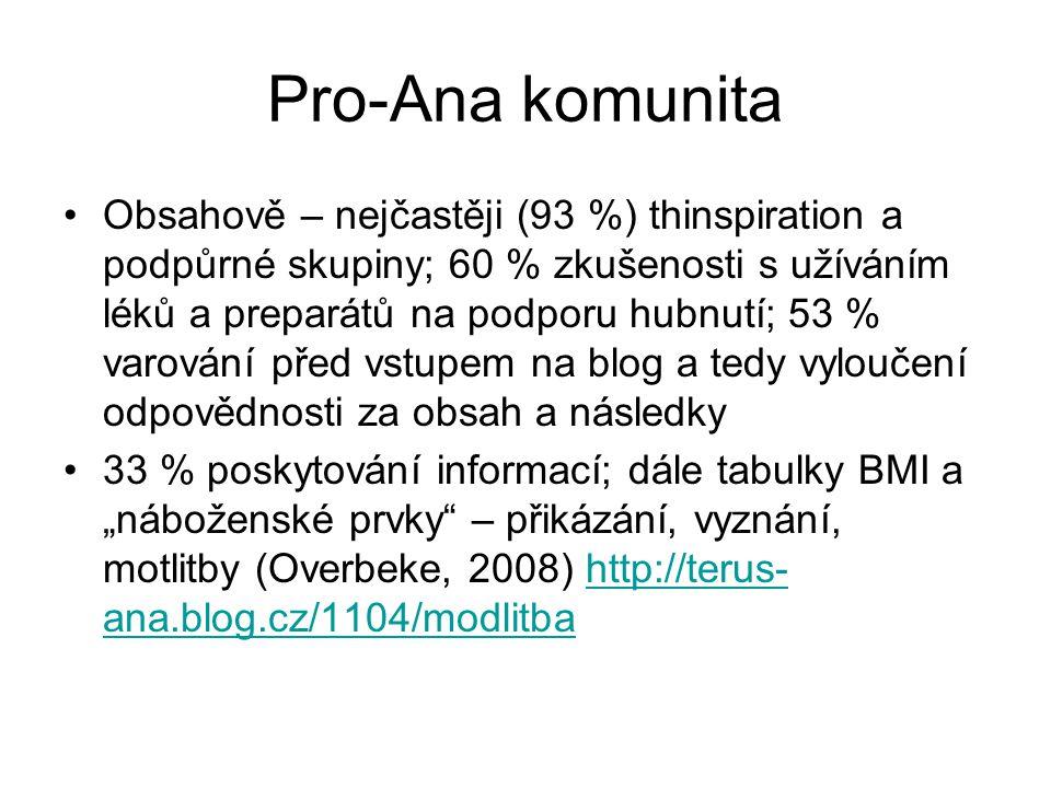 """Pro-Ana komunita Obsahově – nejčastěji (93 %) thinspiration a podpůrné skupiny; 60 % zkušenosti s užíváním léků a preparátů na podporu hubnutí; 53 % varování před vstupem na blog a tedy vyloučení odpovědnosti za obsah a následky 33 % poskytování informací; dále tabulky BMI a """"náboženské prvky – přikázání, vyznání, motlitby (Overbeke, 2008) http://terus- ana.blog.cz/1104/modlitbahttp://terus- ana.blog.cz/1104/modlitba"""