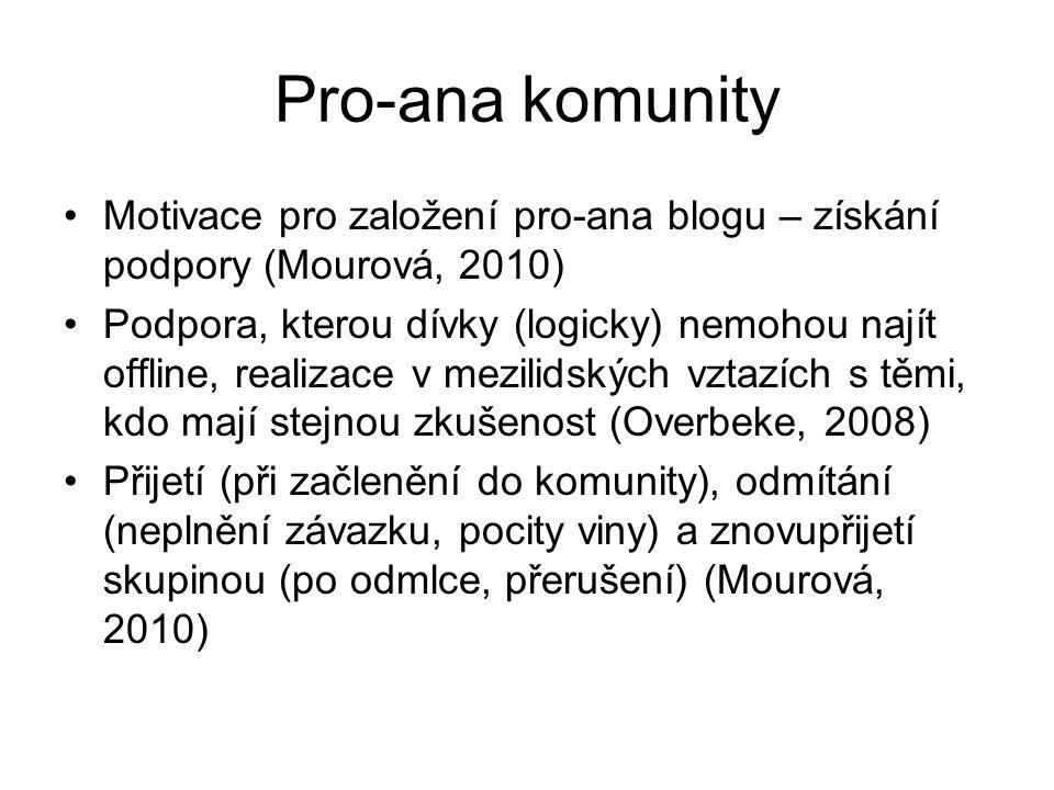 Pro-ana komunity Motivace pro založení pro-ana blogu – získání podpory (Mourová, 2010) Podpora, kterou dívky (logicky) nemohou najít offline, realizace v mezilidských vztazích s těmi, kdo mají stejnou zkušenost (Overbeke, 2008) Přijetí (při začlenění do komunity), odmítání (neplnění závazku, pocity viny) a znovupřijetí skupinou (po odmlce, přerušení) (Mourová, 2010)