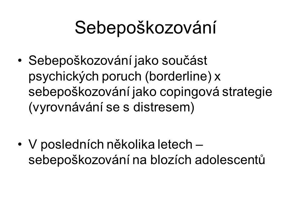 Sebepoškozování Sebepoškozování jako součást psychických poruch (borderline) x sebepoškozování jako copingová strategie (vyrovnávání se s distresem) V