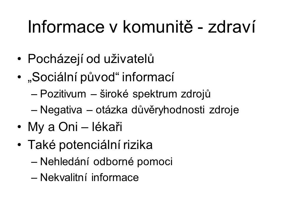 """Informace v komunitě - zdraví Pocházejí od uživatelů """"Sociální původ"""" informací –Pozitivum – široké spektrum zdrojů –Negativa – otázka důvěryhodnosti"""