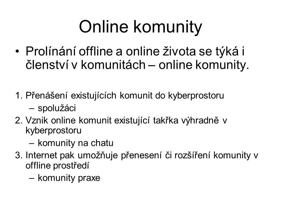 Online komunity Prolínání offline a online života se týká i členství v komunitách – online komunity. 1.Přenášení existujících komunit do kyberprostoru