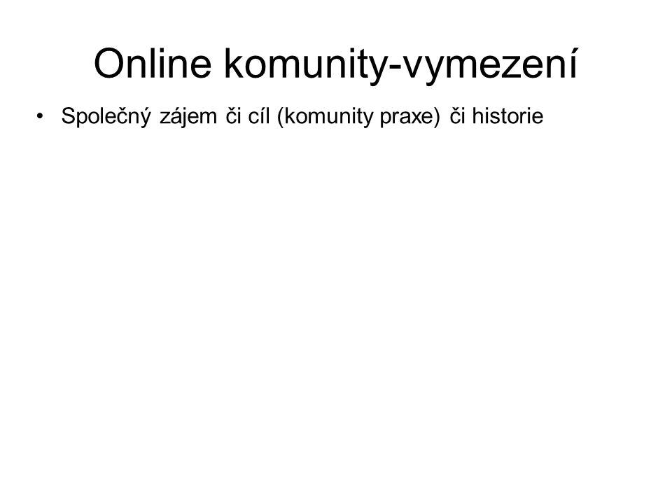 Online komunity-vymezení Společný zájem či cíl (komunity praxe) či historie