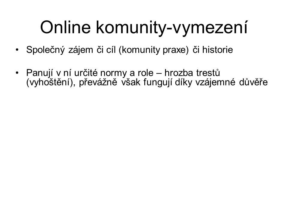 Online komunity-vymezení Společný zájem či cíl (komunity praxe) či historie Panují v ní určité normy a role – hrozba trestů (vyhoštění), převážně však