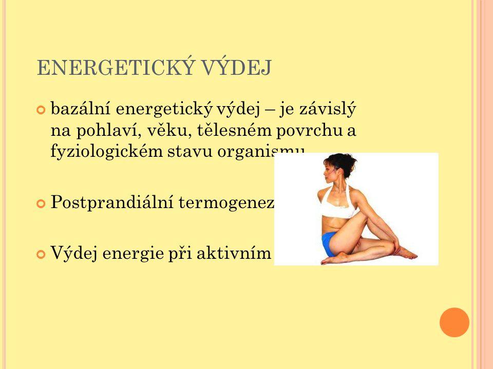 ENERGETICKÝ VÝDEJ bazální energetický výdej – je závislý na pohlaví, věku, tělesném povrchu a fyziologickém stavu organismu Postprandiální termogeneze