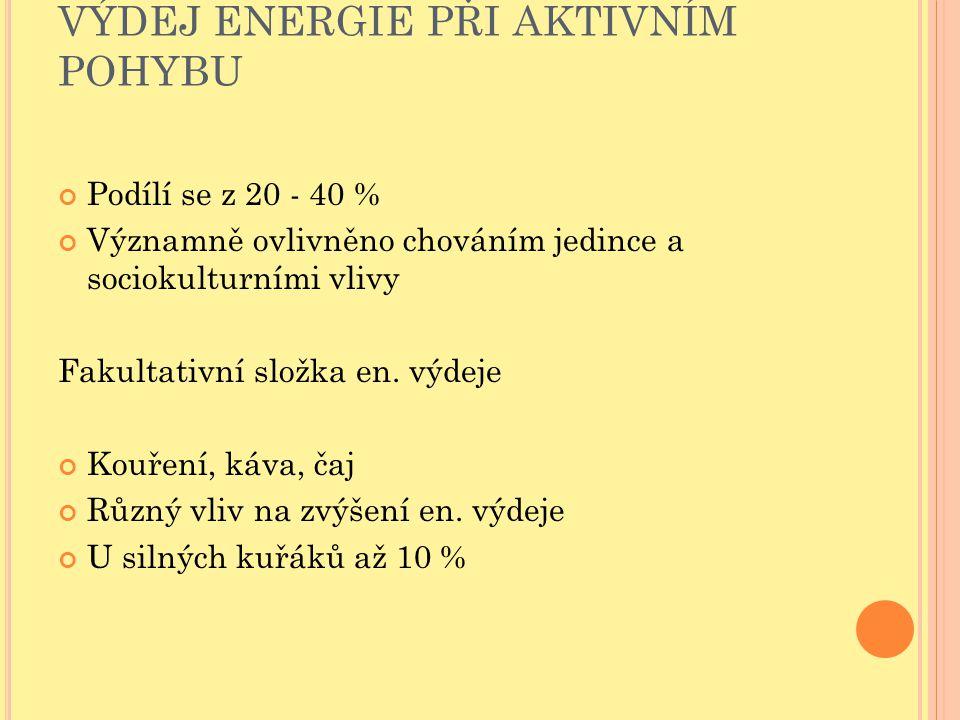 VÝDEJ ENERGIE PŘI AKTIVNÍM POHYBU Podílí se z 20 - 40 % Významně ovlivněno chováním jedince a sociokulturními vlivy Fakultativní složka en. výdeje Kou