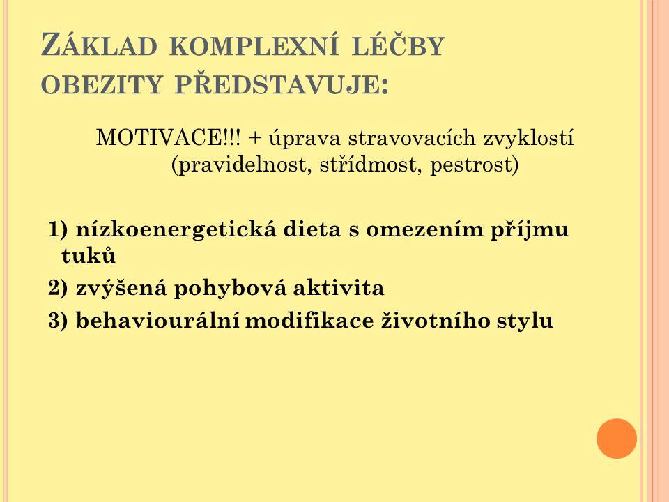 Z ÁKLAD KOMPLEXNÍ LÉČBY OBEZITY PŘEDSTAVUJE : MOTIVACE!!! + úprava stravovacích zvyklostí (pravidelnost, střídmost, pestrost) 1) nízkoenergetická diet