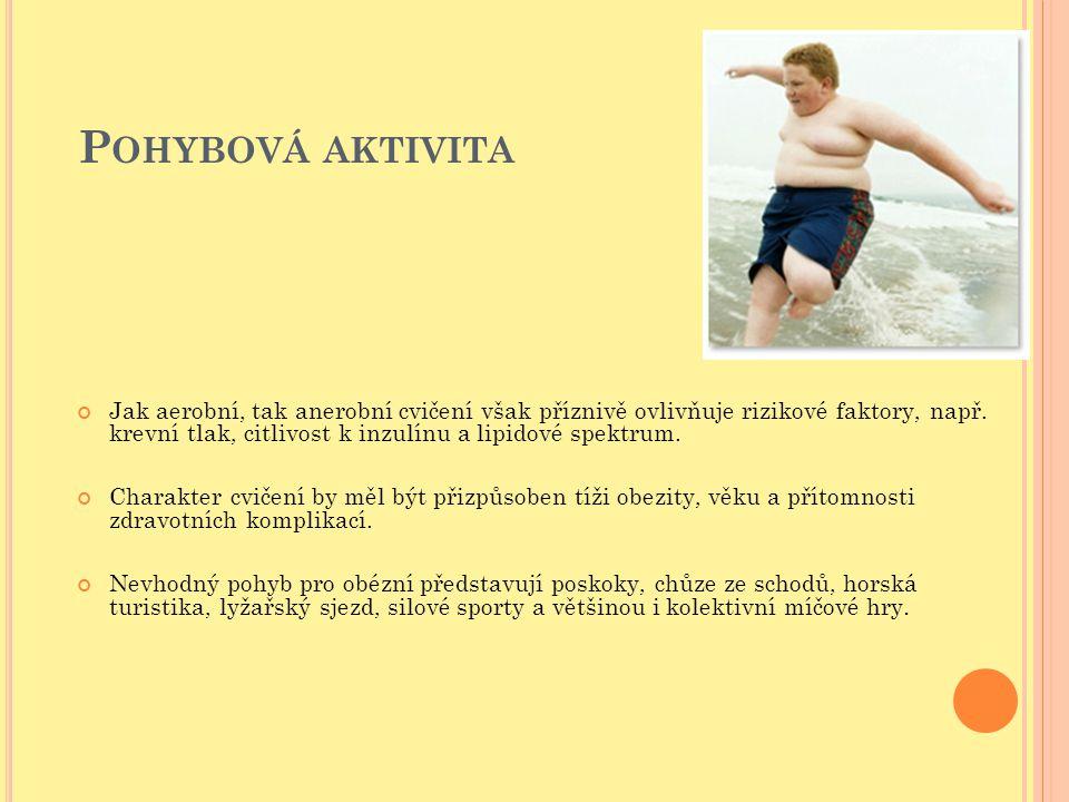 P OHYBOVÁ AKTIVITA Jak aerobní, tak anerobní cvičení však příznivě ovlivňuje rizikové faktory, např. krevní tlak, citlivost k inzulínu a lipidové spek