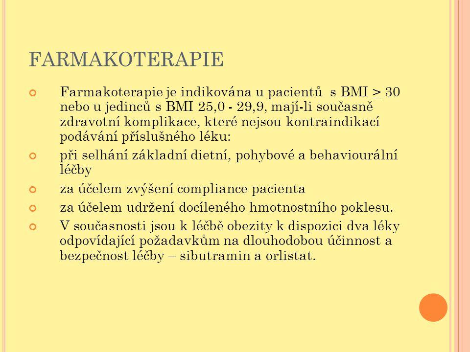 FARMAKOTERAPIE Farmakoterapie je indikována u pacientů s BMI > 30 nebo u jedinců s BMI 25,0 - 29,9, mají-li současně zdravotní komplikace, které nejso
