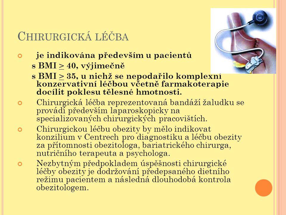 C HIRURGICKÁ LÉČBA je indikována především u pacientů s BMI > 40, výjimečně s BMI > 35, u nichž se nepodařilo komplexní konzervativní léčbou včetně fa