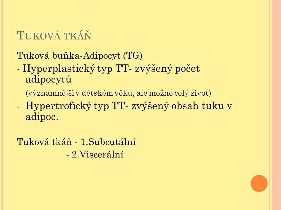 T UKOVÁ TKÁŇ Tuková buňka-Adipocyt (TG) - Hyperplastický typ TT- zvýšený počet adipocytů (významnější v dětském věku, ale možné celý život) - Hypertro