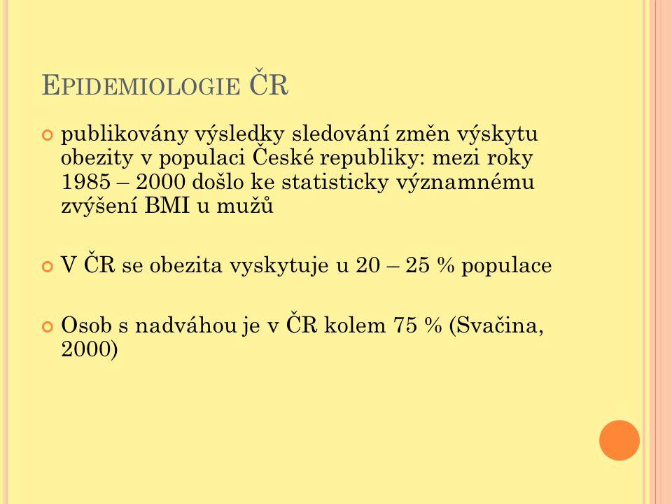 E PIDEMIOLOGIE ČR publikovány výsledky sledování změn výskytu obezity v populaci České republiky: mezi roky 1985 – 2000 došlo ke statisticky významném
