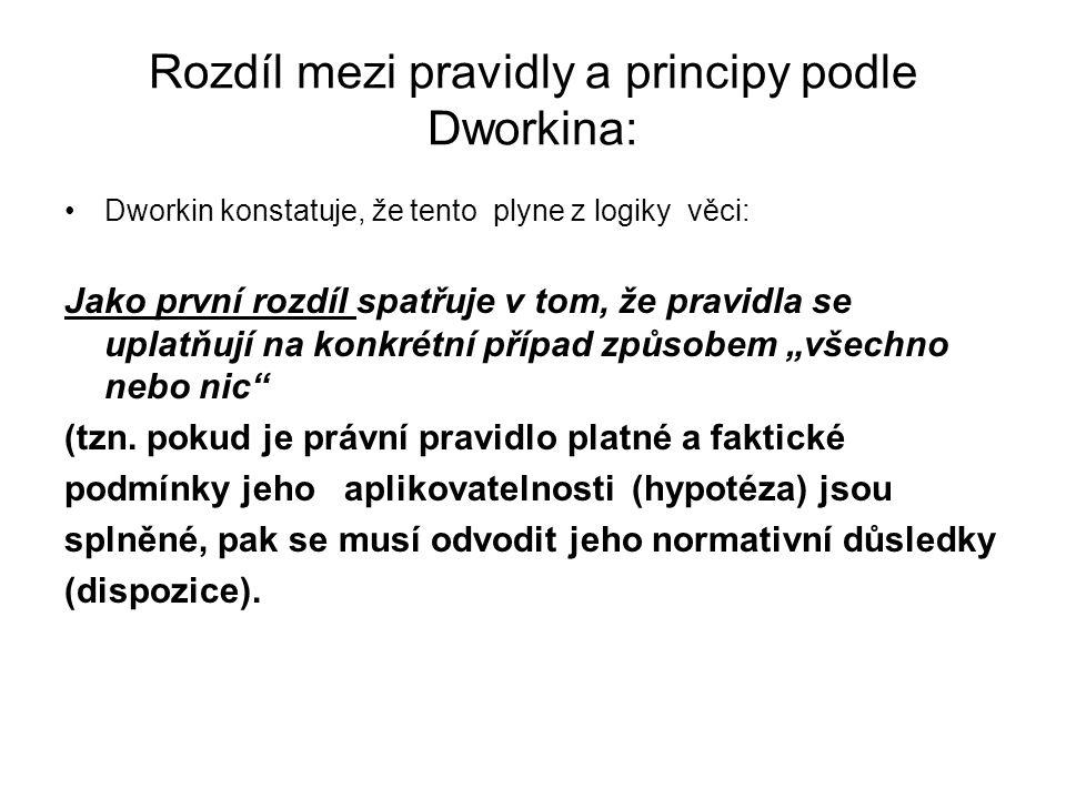 Rozdíl mezi pravidly a principy podle Dworkina: Dworkin konstatuje, že tento plyne z logiky věci: Jako první rozdíl spatřuje v tom, že pravidla se upl