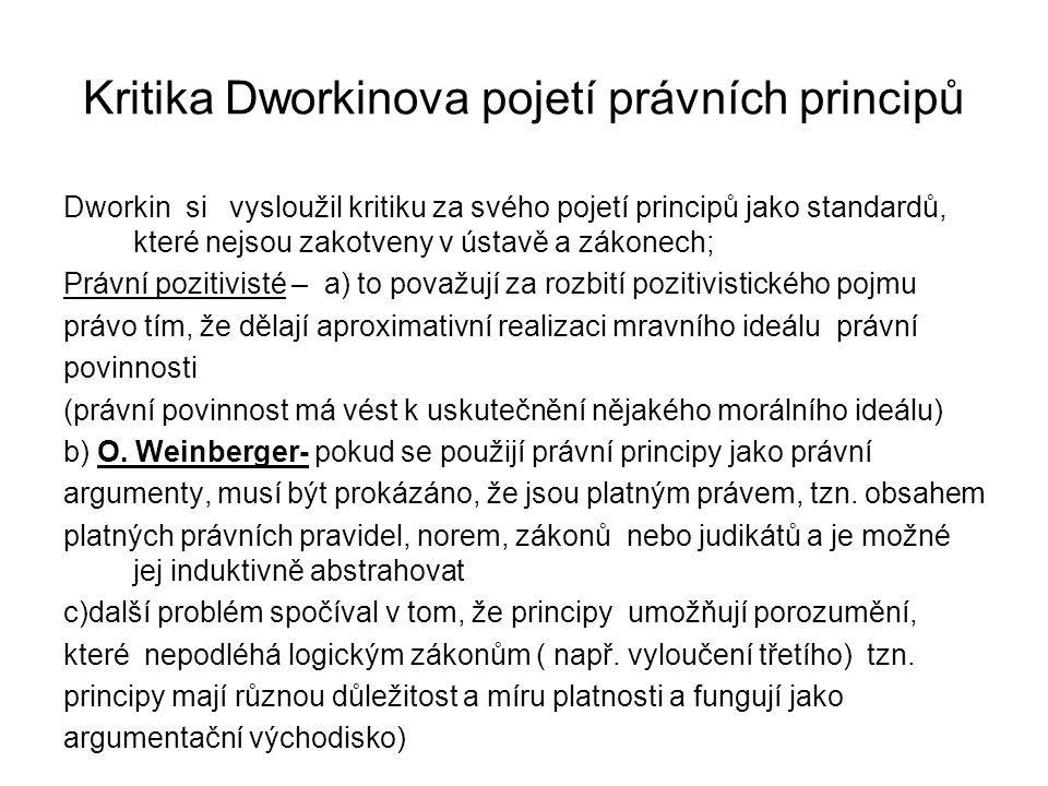 Kritika Dworkinova pojetí právních principů Dworkin si vysloužil kritiku za svého pojetí principů jako standardů, které nejsou zakotveny v ústavě a zá