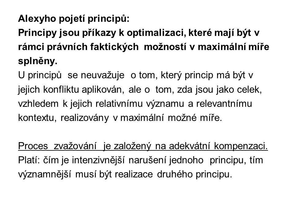 Alexyho pojetí principů: Principy jsou příkazy k optimalizaci, které mají být v rámci právních faktických možností v maximální míře splněny. U princip