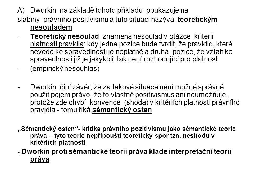 A)Dworkin na základě tohoto příkladu poukazuje na slabiny právního positivismu a tuto situaci nazývá teoretickým nesouladem -Teoretický nesoulad zname
