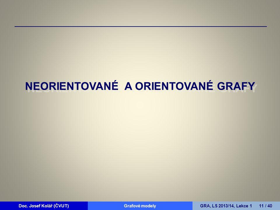 Doc. Josef Kolář (ČVUT)Grafové modelyGRA, LS 2013/14, Lekce 1 11 / 40 NEORIENTOVANÉ A ORIENTOVANÉ GRAFY