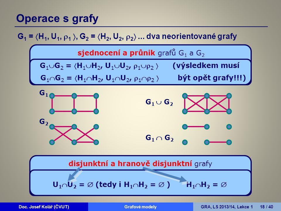 Doc. Josef Kolář (ČVUT)Grafové modelyGRA, LS 2013/14, Lekce 1 18 / 40 G 1 =  H 1, U 1,  1 , G 2 =  H 2, U 2,  2 ... dva neorientované grafy sjed