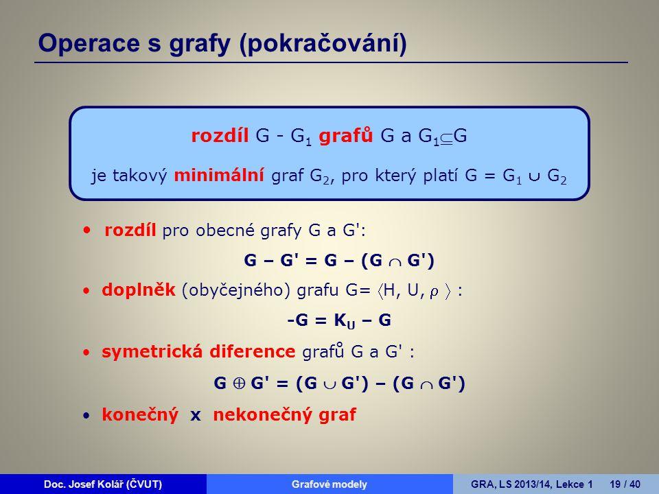 Doc. Josef Kolář (ČVUT)Grafové modelyGRA, LS 2013/14, Lekce 1 19 / 40 rozdíl G - G 1 grafů G a G 1 G je takový minimální graf G 2, pro který platí G